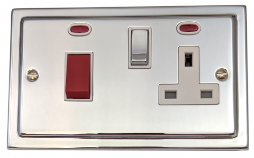 G&H TC229 Trimline Plate Polished Chrome 45 Amp DP Cooker Switch & 13A Switched Socket